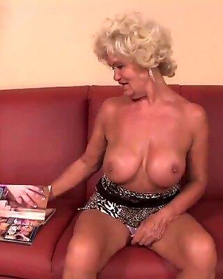 kinky grandmother reading porno magazine until she gets raw