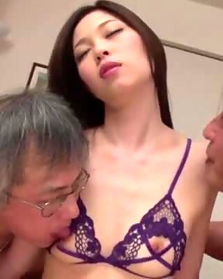 Perfect threesome with older guys for Misaki Yoshimura