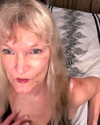 elder grannie blonde small tits showing nipples masturbating fur covered pussy