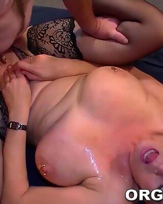 Pierced mature group babe